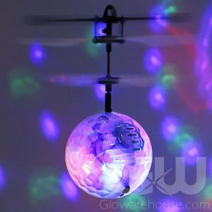 Glowing Hand Helicopter Flying Disco Ball Toy