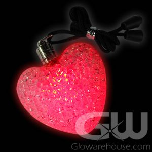Glowing LED Hearts with Lanyard String