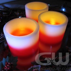 "5"" LED Flameless Festive Candles - Red and White Stripes"