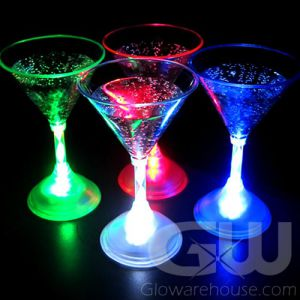 Lighted LED Martini Glasses