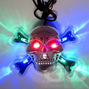 Glowing Silver Skull LED Pendant