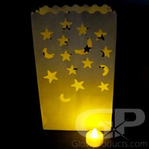 Luminary Bags with Tea Lights - Moon and Stars