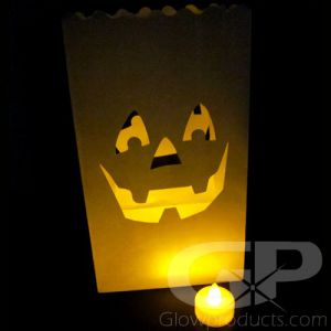 Luminary Bags with Tea Lights - Pumpkin