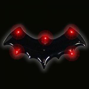 Light Up Halloween Flashing Pin Black Bat