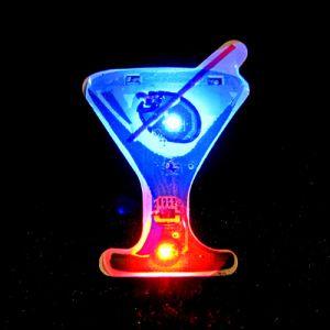 Cocktail Martini Flashing LED Lapel Pin Body Light