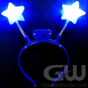 Glowing Blue Star LED Light Up Headband Boppers