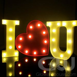 Marquee Letter Lamp Combo I Heart U