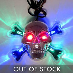 Light Up Skull Necklace Glowing Halloween Pendant