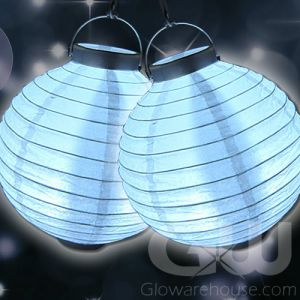 White Paper Lamps with Glowing LED Lights